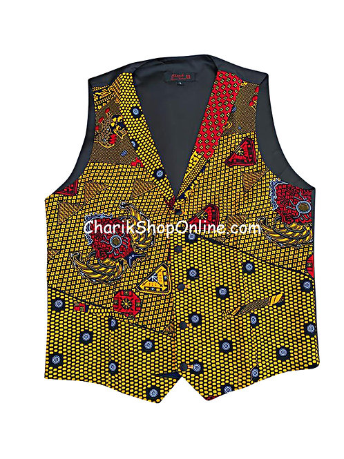 African Print men suit vest Blue Dot