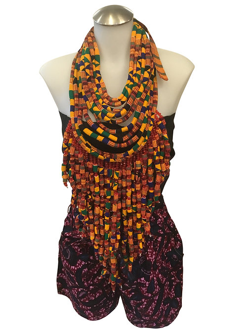 Orange Kente African Print Fabric Long Necklace