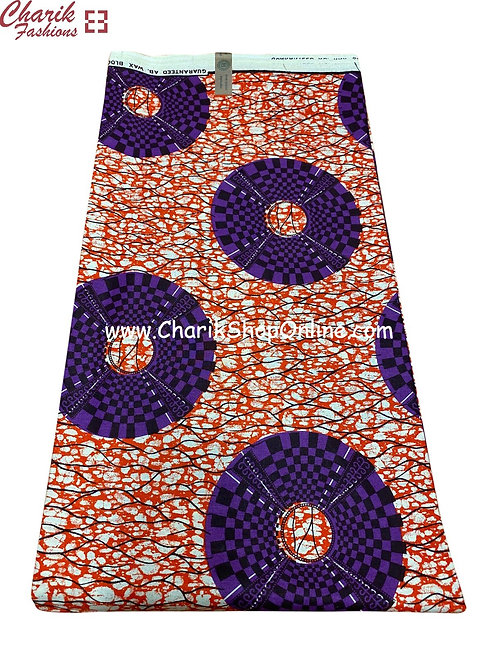African Wax Print  6 yards/ Ankara fabric/ Purple Black Check ankara/