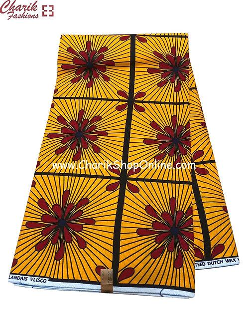 African Wax Print  6 yards/ Ankara fabric/ Red splash ankara/