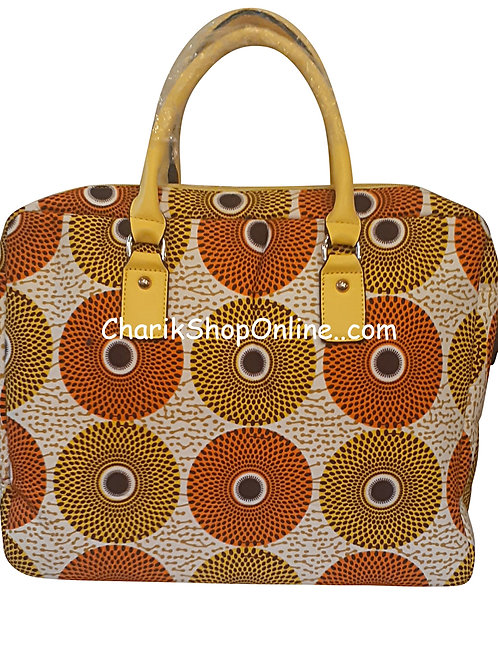 Ankara tote/ kente tote/ Ankara bag/African print bag Orange Dial
