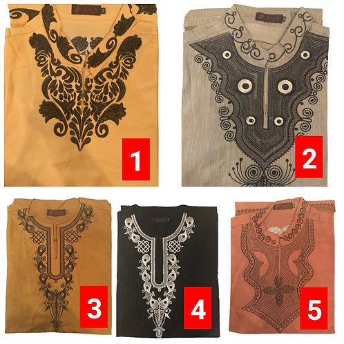 2 African embroidered dashiki men's shirt Size 4XLSet #2
