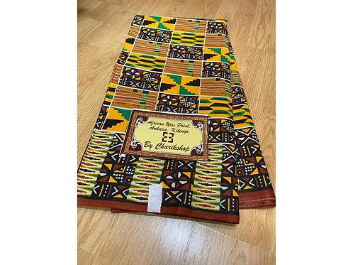 African Wax Print 6 yards/ Ankara fabric/ Green Black Mudcloth ankara/