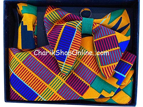 Ankara BP Kente Wave Classic Bow Tie - handkerchief - cuff lin