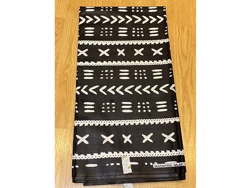African Wax Print 6 yards/ Ankara fabric/ Black White Arrows ankara/
