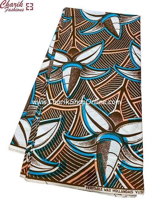 African Wax Print  6 yards/ Ankara fabric/ Brown bloom ankara/