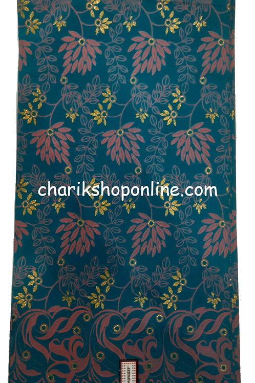 African Wax Print 6 yards/ Ankara fabric/ Raised Blue Purple Leaf ankara/