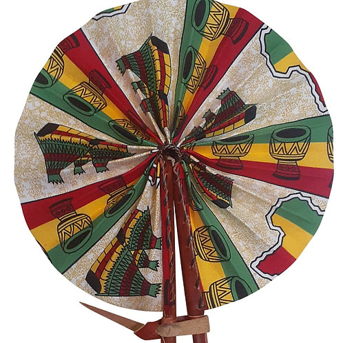 African Folding Hand Fan Red Green Pottery Quality Fabri