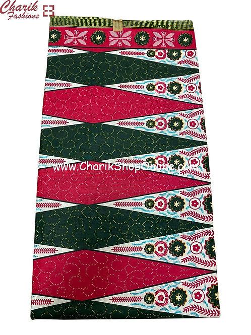 African Wax Print  6 yards/ Ankara fabric/ Green Magenta Swirl ankara/