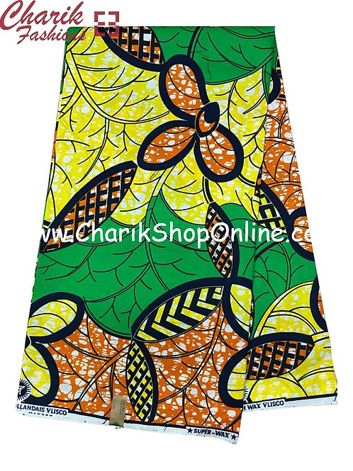 African Wax Print  6 yards/ Ankara fabric/ Orange Yellow Bloom ankara/