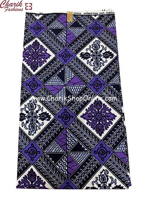 African Wax Print  6 yards/ Ankara fabric/ Purple Prism ankara/