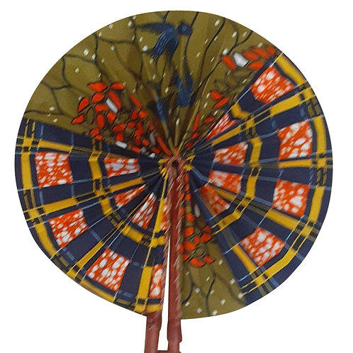 African Folding Hand Fan Olive Branch Quality Fabri