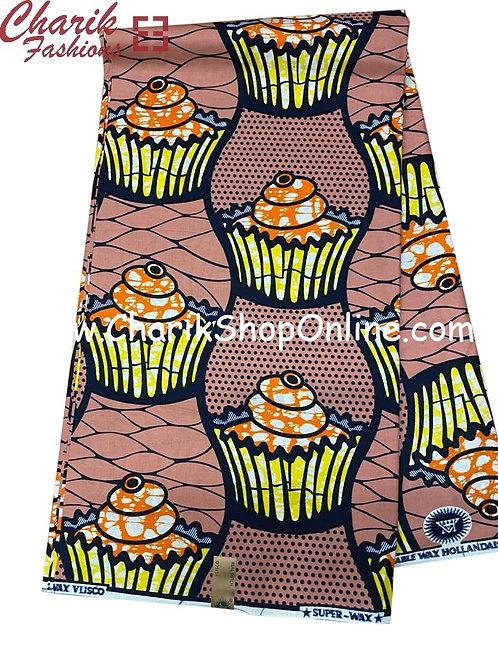 African Wax Print  6 yards/ Ankara fabric/ Cup Cake ankara/