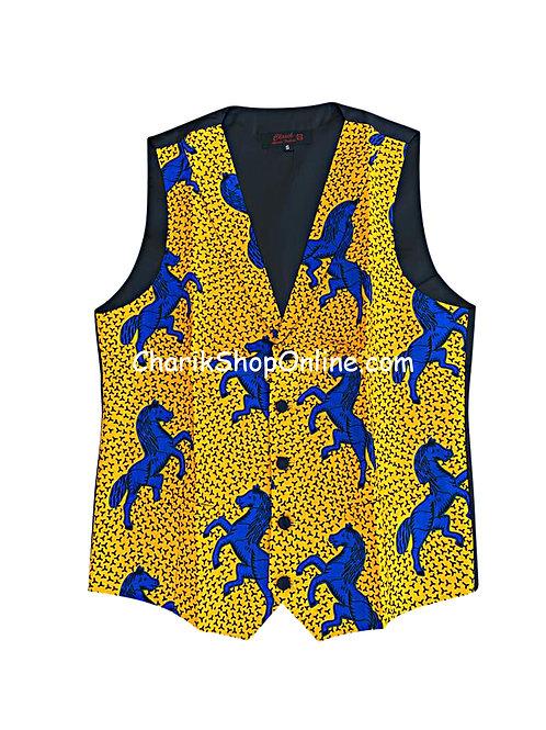 African Print men suit vest Blue Horse