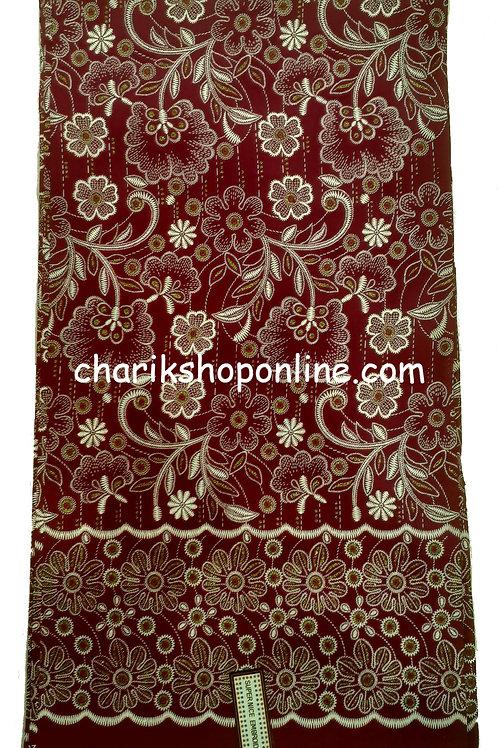 African Wax Print 6 yards/ Ankara fabric/ Raised Maroon Bloom ankara/