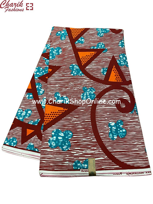 African Wax Print  6 yards/ Ankara fabric/ Blue Clover ankara/