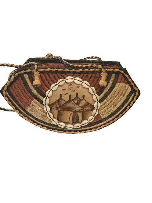 Ankara African Rope & Leather Half Moon Tote Bag #4