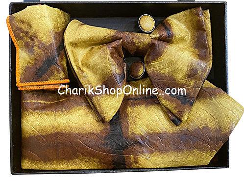 Ankara Brown Beige Classic Bow Tie - handkerchief - cuff lin