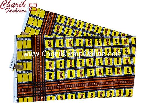 African Wax Print  6 yards/ Ankara fabric/ Orange Bow ankara/