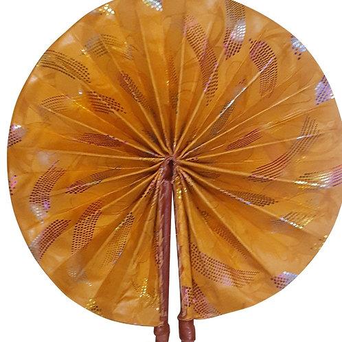 African Folding Hand Fan Golden Breeze Quality Fabri