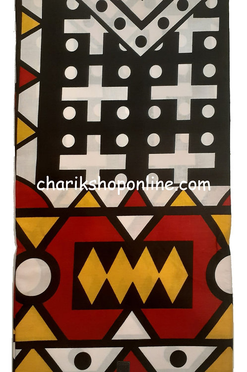 African Wax Print 6 yards/ Ankara fabric/ Black White Cross ankara/