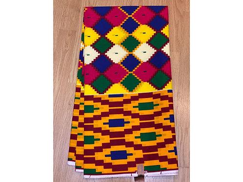 African Wax Print 6 yards/ Ankara fabric/ Multicolor Kente ankara/