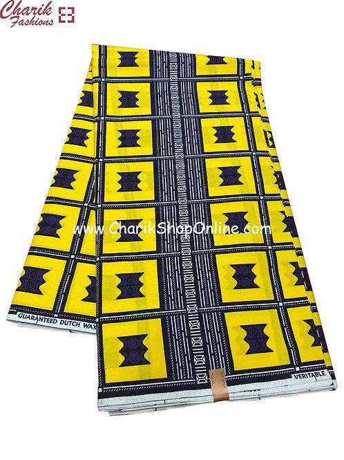 African Wax Print  6 yards/ Ankara fabric/ Yellow road ankara/