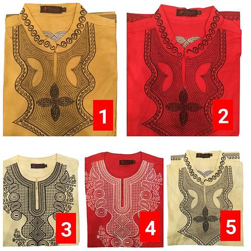 3 African embroidered dashiki men's shirt Size Medium Set #6