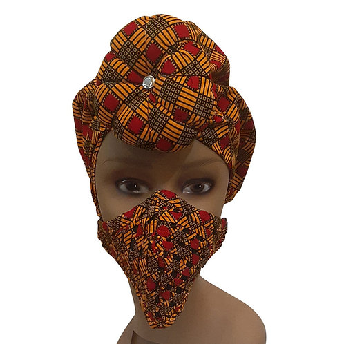 African print adult sized satin Olive Orange Bonnet with mask