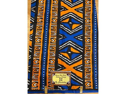African Wax Print 6 yards/ Ankara fabric/ Blue Orange ankara/