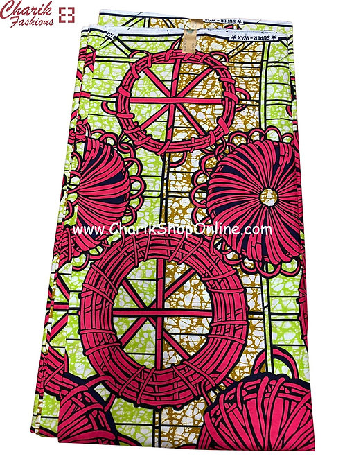 African Wax Print  6 yards/ Ankara fabric/ Magenta Wheel ankara/