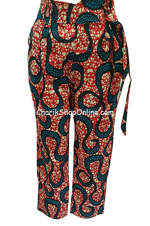 African Blue Octo V-Cut Ankara print pants with belt