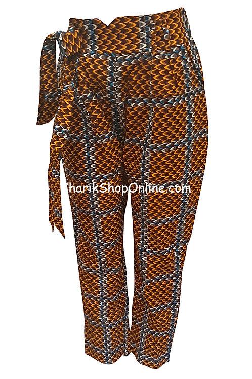 African Orange Grid V-Cut Ankara print pants with belt