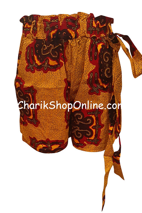 African Ankara print shorts with belt Burgundy Crest