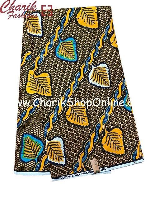 African Wax Print  6 yards/ Ankara fabric/ Blue Orange Weaveankara/