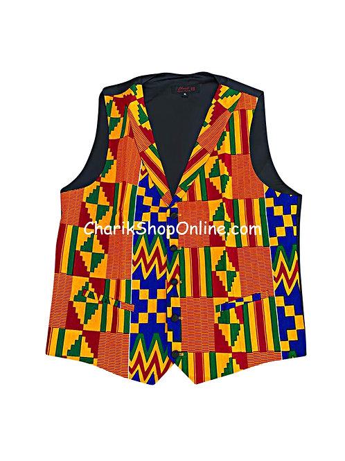 African Print men suit vest Kente OG