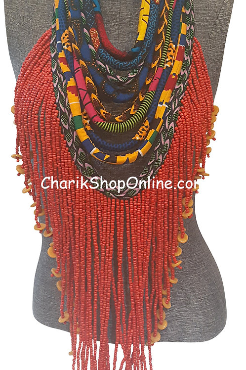 Ankara Print Full Length Beaded Statement Necklace Red Beads
