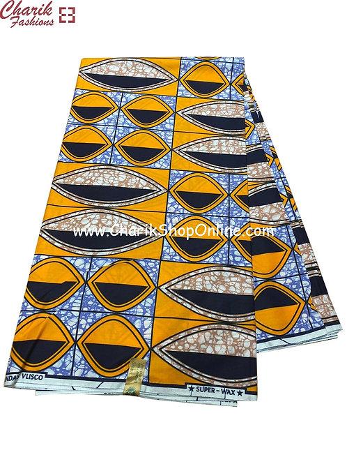 African Wax Print  6 yards/ Ankara fabric/ Orange eyes ankara/