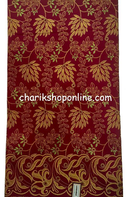African Wax Print 6 yards/ Ankara fabric/ Raised Maroon Leaf ankara/