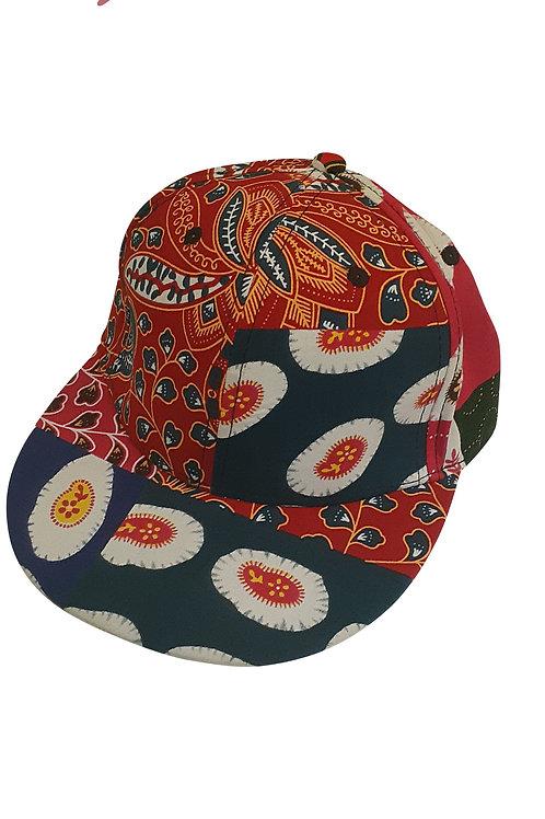 Hip Hop Snapback Red Feather Ankara Cap