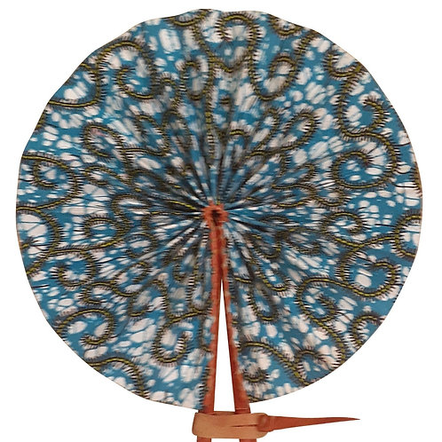 African Folding Hand Fan Blue Gold Swirl Quality Fabric