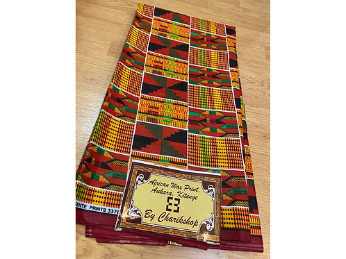 African Wax Print 6 yards/ Ankara fabric/ Black Red Kente ankara/