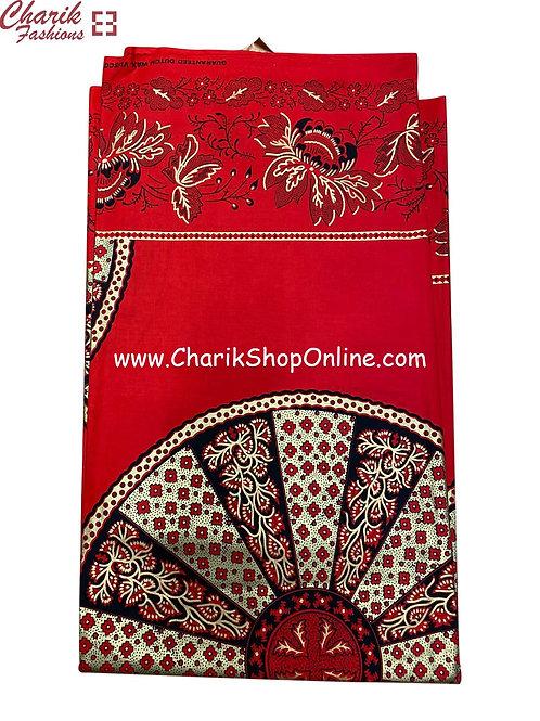 African Wax Print  6 yards/ Ankara fabric/ Red Wheel ankara/