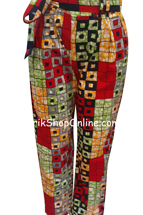 African Red Blocks V-Cut Ankara print pants with belt