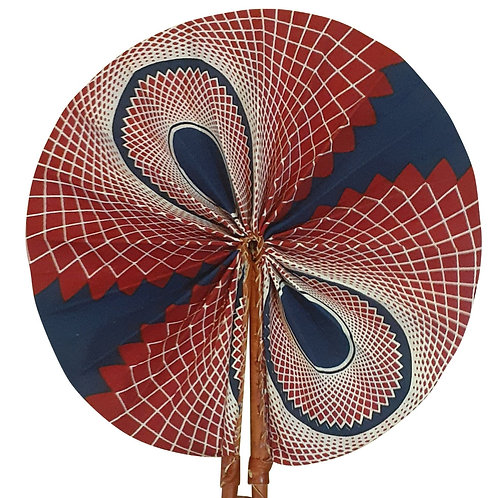 African Folding Hand Fan Blue Maroon Wings Quality Fabri