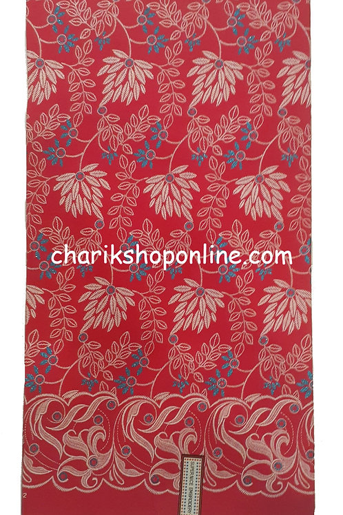 African Wax Print 6 yards/ Ankara fabric/ Raised Light Red Leaf ankara/