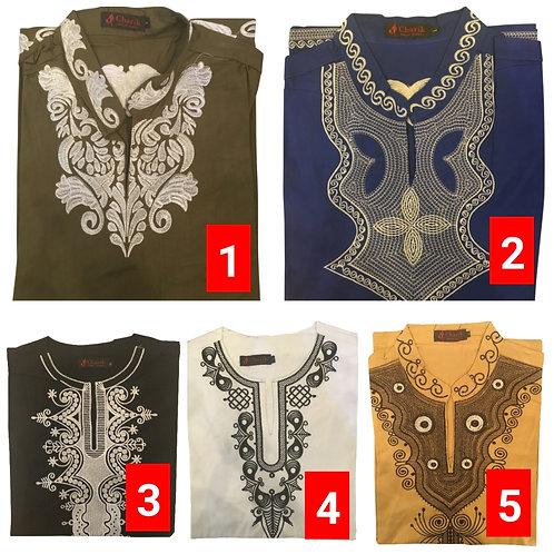 2 African embroidered dashiki men's shirt Size Large Set #3