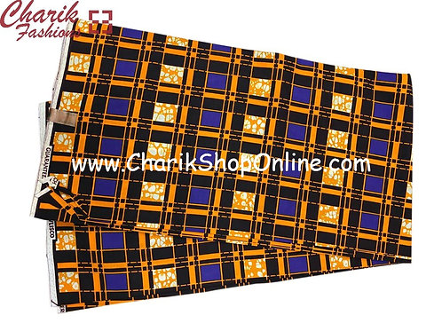 African Wax Print  6 yards/ Ankara fabric/ Blue Black Climb ankara/