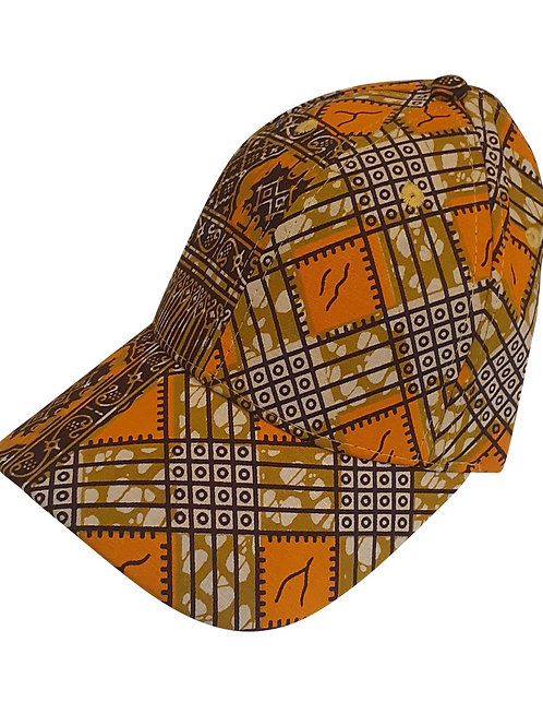 Unisex Ankara Orange Tan Cap