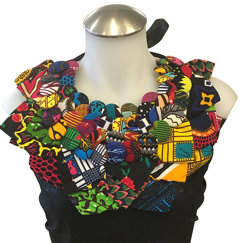 African Print Fabric Button Leaves Bib Necklace #13
